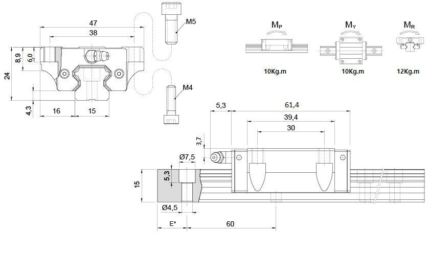 Desenho Guia KRH15-FL - Guia linear 15mm com aba
