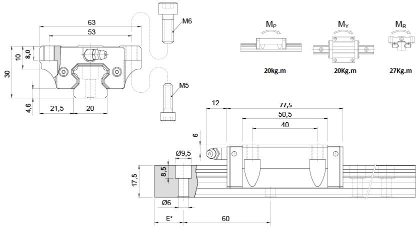 KRH-20FL - Patins de 20mm com aba