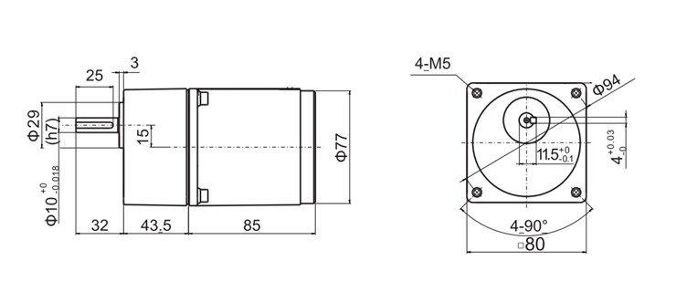 Medidas do Motor Monofasico 25w com redutor
