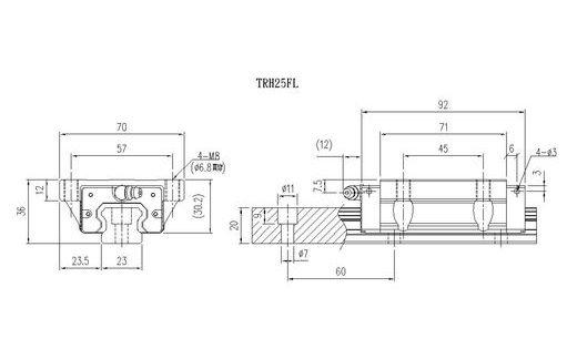 Guia Linear 25mm - TRH25-FL