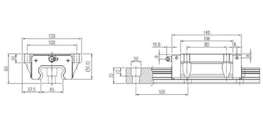 Guia linear 45mm TRH45FL