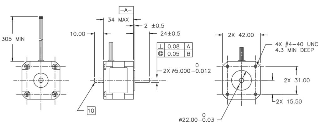 Dimensões do Motor de Passo Nema 17 5017-008