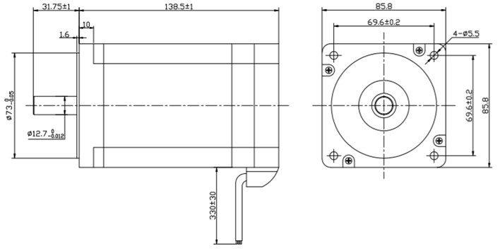 Motor BLDC 700W medidas