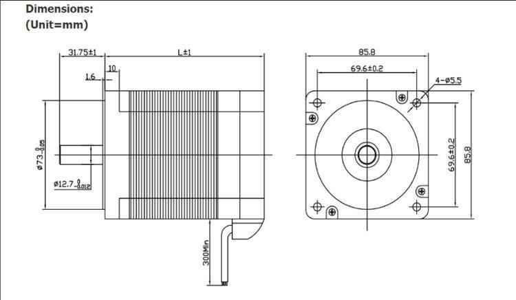 Dimensões Motor Brushless DC