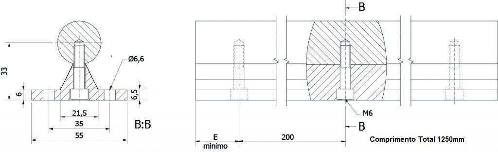 suporte de eixo 25mm
