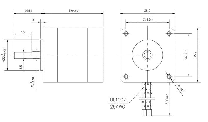 Medidas Motor de passo Nema 14