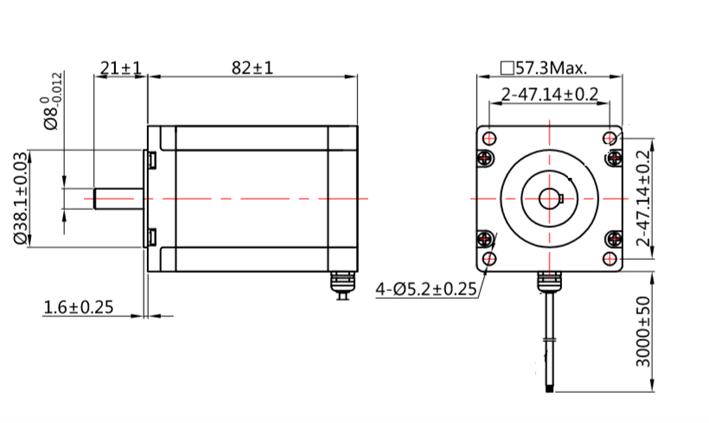 Medidas Motor de Passo Nema 23 IP65