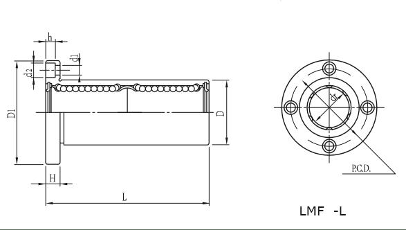 Dimensões do Rolamento linear Flangeado Longo LMF-L