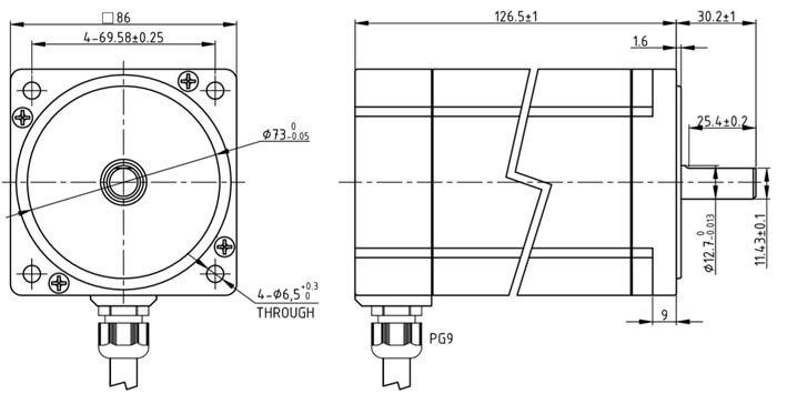Medidas Motor de Passo KML093-IP66-J