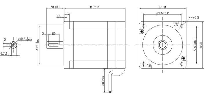 Motor BLDC 400W - medidas